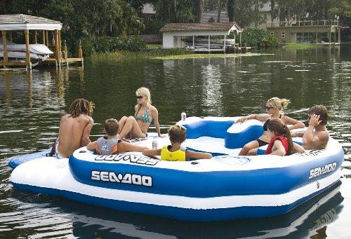 Sea Doo 8 Person Inflatable Mega Island Lake Float W/ 4 Speaker Music System